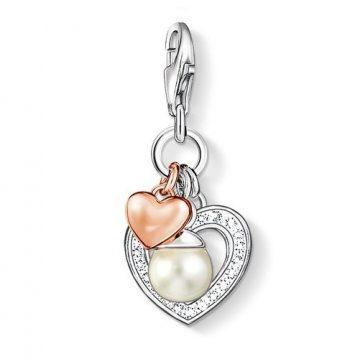 "Thomas Sabo ""hearts with pearl"" charm 0937-426-14"