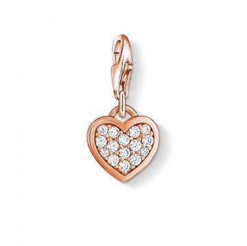 "Thomas Sabo ""glitter heart rose"" charm 0970-416-14"