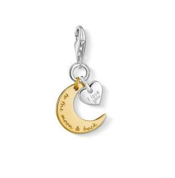 """Thomas Sabo """"Aranyozott hold és ezüst szív"""" charm 1443-413-39"""