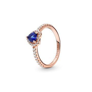Pandora Rose szikrázó kék kiemelt szív gyűrű 188421C01