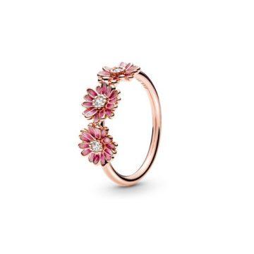 Pandora Rose Rózsaszín százszorszép trió gyűrű 188792C01