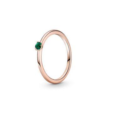 Pandora Rose zöld szoliter gyűrű 189259C05