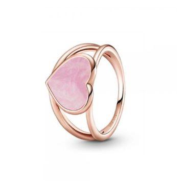 Pandora Rose rózsaszín örvény szív gyűrű 189263C01