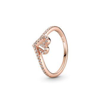 Pandora Rose csillogó kívánság és szív gyűrű 189302C01
