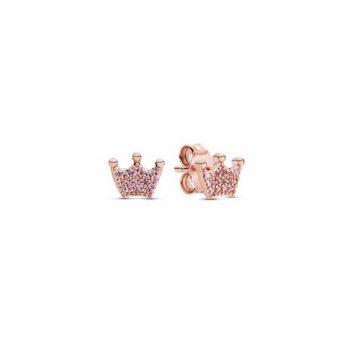 Pandora rózsaszín bűbájos korona rose fülbevaló 287127NPO