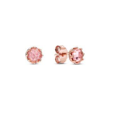 Pandora Rose Szikrázó rózsaszín korona gombfülbevalók 288311C01