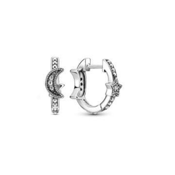 Pandora Félhold és csillagok gyöngyös karika-fülbevaló 299152C01