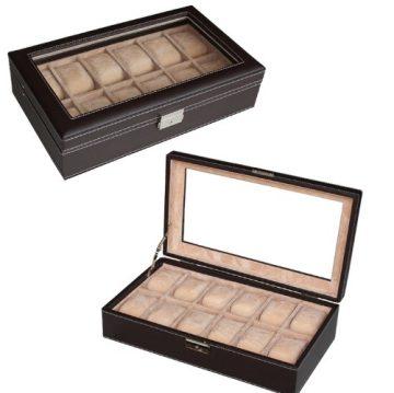 Csokoládébarna bőr óratartó doboz fehér varrással 12 db órához