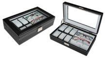 Fekete varrott óratartó és szemüvegtartó doboz 365