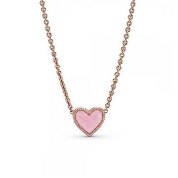 Pandora Rose rózsaszín szív collier nyaklánc 389279C01-50