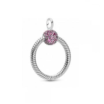 Pandora Momets kis rózsaszín pavé O medál 399097C02