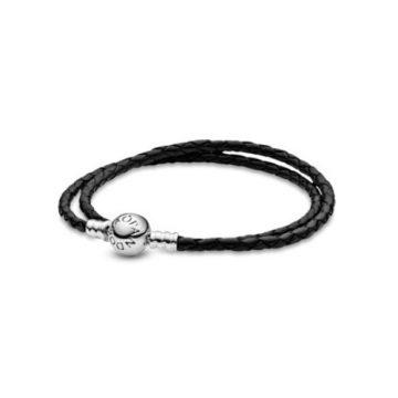 Pandora Moments kétsoros fekete fonott bőr karkötő 590745CBK-D