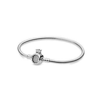 """Pandora Moments koronás """"o"""" és kígyólánc karkötő 598286CZ"""