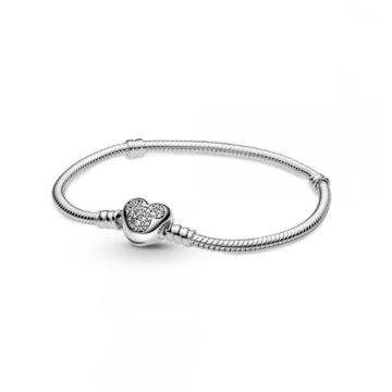 Pandora Moments Disney Mickey Egér szívkapcsos kígyólánc karkötő 599299C01