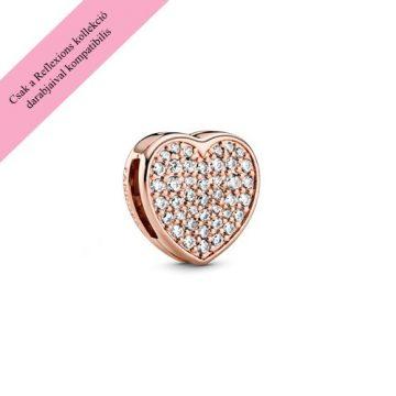 Pandora Reflexions rose pávé szív klip charm 788684C01