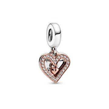 Szikrázó szabadkézi szív függő charm 788693C01