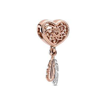 Pandora Rose áttört szív és kéttollas álomfogó charm 789068C00