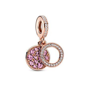 Pandora Szikrázó rózsaszín lemezes dupla függő charm 789186C02