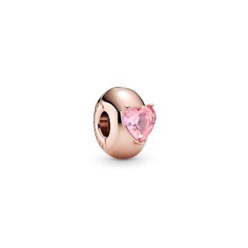 Pandora Rose rózsaszín szív szoliter klip 789203C01