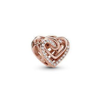 Pandora Rose szikrázó összefonódó szívek charm 789270C01