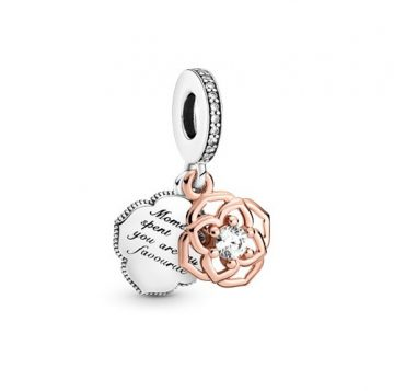 Pandora Kéttónusú rózsa függő charm 789373C01