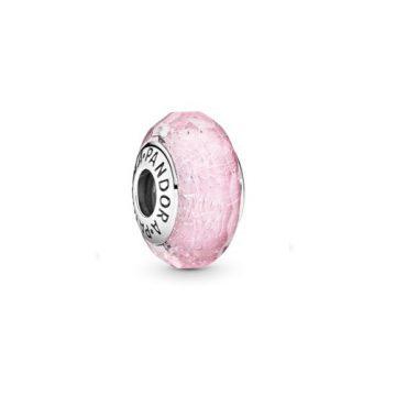 Pandora Rózsaszín csillámló üveg charm 791650