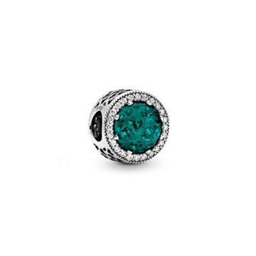 Pandora Zöld ragyogó szív charm 791725NSG