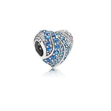 Pandora Vízkék Szív Charm 797015NABMX