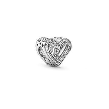 Pandora Szikrázó szabadkézi szív charm 798692C01