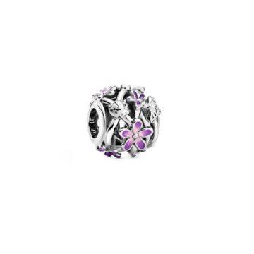 Pandora Áttört lila százszorszép charm 798772C02
