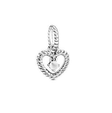 Pandora Tejfehér Gyöngyös Szív Függő Charm 798854C04