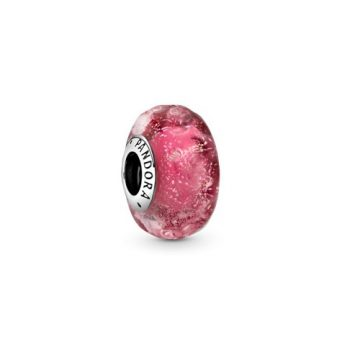 Pandora Hullámos, rózsaszín muranói üveg charm 798872C00