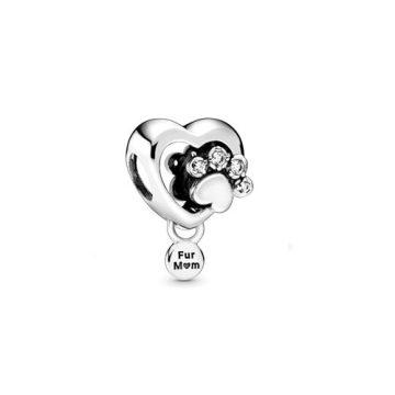 Pandora Szikrázó mancsmintás szív charm 798873C01