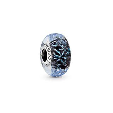 Pandora hullámzó sötétkék muránói üveg charm 798938C00