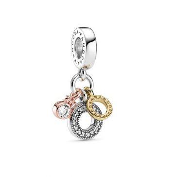 Pandora tripla monogram és logó függő charm 799044C01