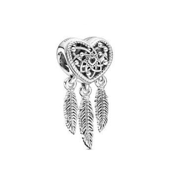 Pandora Áttört szív és háromtollas álomfogó charm 799107C00