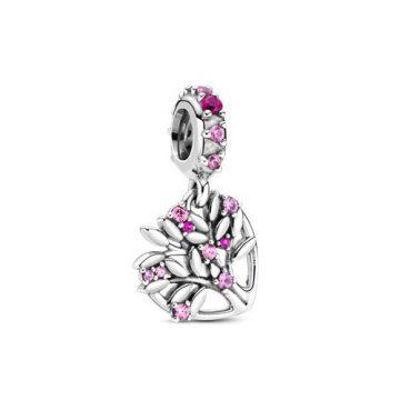 Pandora Rózsaszín szív családfa függő charm 799153C01