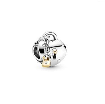 Pandora kéttónusú szív és lakat charm 799160C01