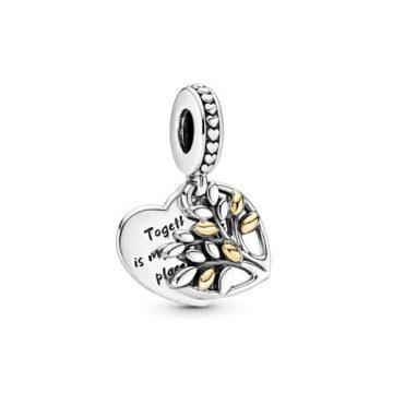 Pandora kéttónusú családfa szív alakú függő charm 799161C00
