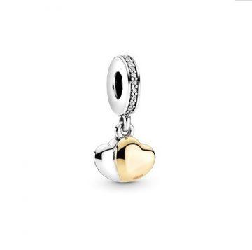 Pandora kéttónusú dupla szív függő charm 799162C01