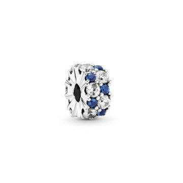 Pandora áttetsző és kék szikrázó klip charm 799171C01