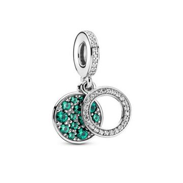 Pandora szikrázó zöld lemezes dupla függő charm 799186C02