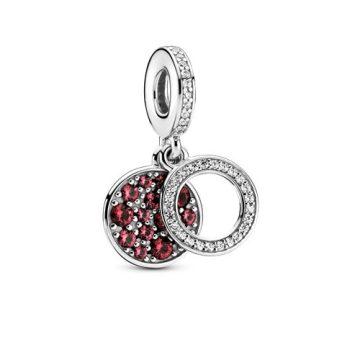 Pandora szikrázó piros lemezes dupla függő charm 799186C03