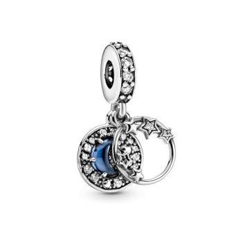 Pandora Kék égbolt, félhold és csillagok függő charm 799216C01