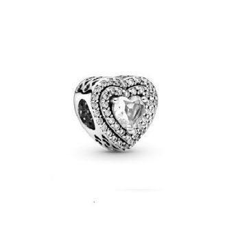 Pandora Szikrázó lapos szívek charm 799218C01