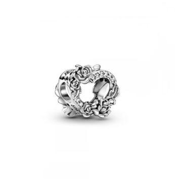 Pandora nyitott szív és rózsavirágok charm 799281C01