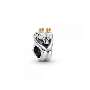 Pandora Kéttónusú hattyúk és szív charm 799315C00