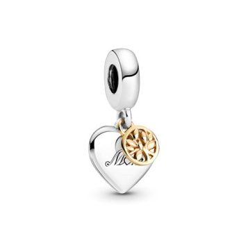 Pandora Kéttónusú családfa szív alakú függő charm 799366C00
