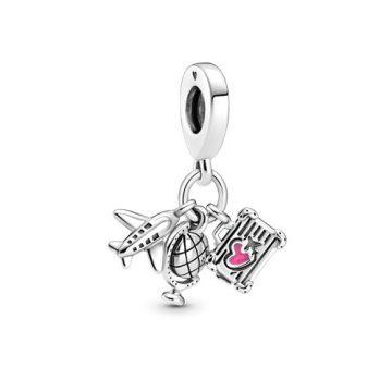 Pandora repülő, földgömb és bőrönd függő charm 799435C01