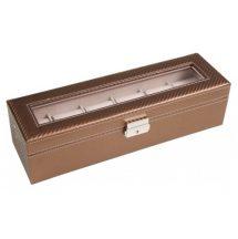 Bronzbarna színű karbon mintás bőr óratartó doboz 6 órának 941